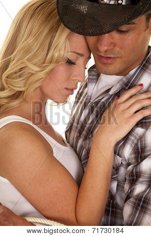 Cowboy Couple Close White Top Eyes Closed