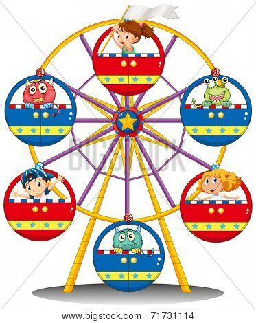 Illustration of a carnival ride with monsters and kids on a white background