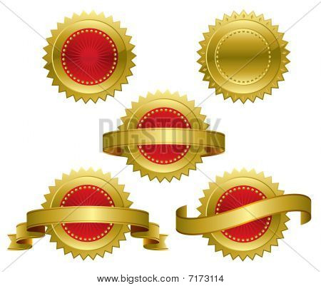 Gold Red Award Medals