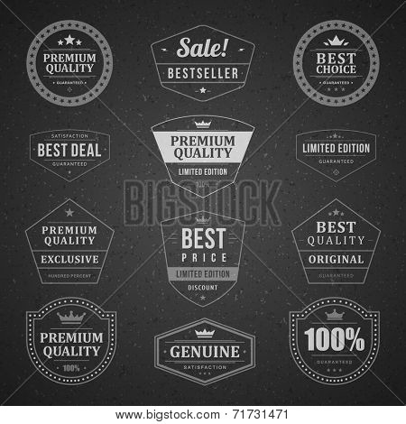 Vintage vector design elements. Retro style chalkboard typographic labels, tags, badges, stamps, arrows and emblems set.