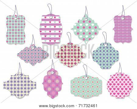 Set of cute floral tags and labels with hearts