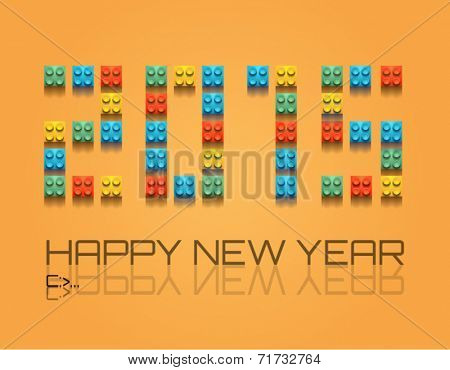 2015 Christmas Colorful Background with plastic blocks for a retro overall look.