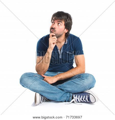 Man Thinking Over Isolated White Background