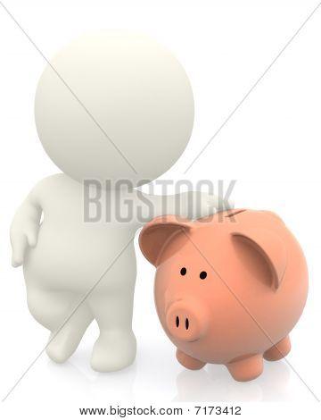 3D Man With Piggybank