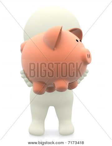 3D Man Holding A Piggybank