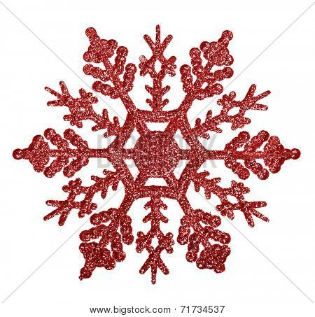 red snowflake shape decoration isolated on white background