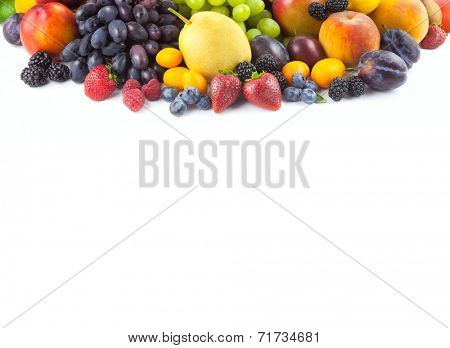 Border of different fruits isolated on white with copy space for text