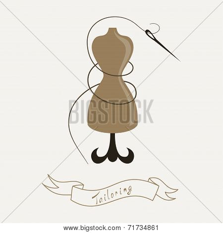 Tailoring Emblem With Mannequin Or Dummy And Banner And Threaded Needle