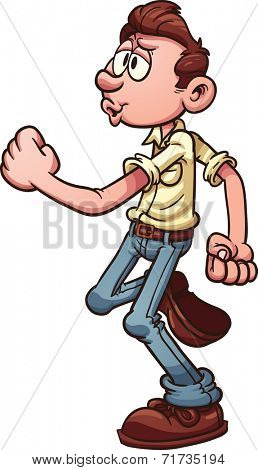 Cartoon man happily walking and whistling. Vector clip art illustration with simple gradients. All in a single layer.