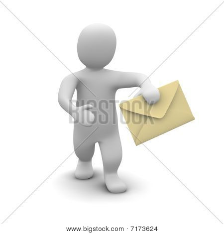 Man carrying envelope with letter