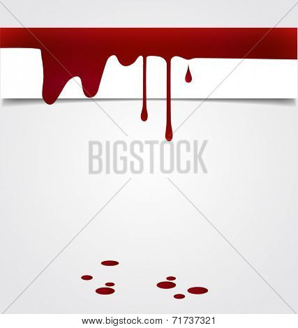 Blood dripping on paper, blood background. Vector illustration.