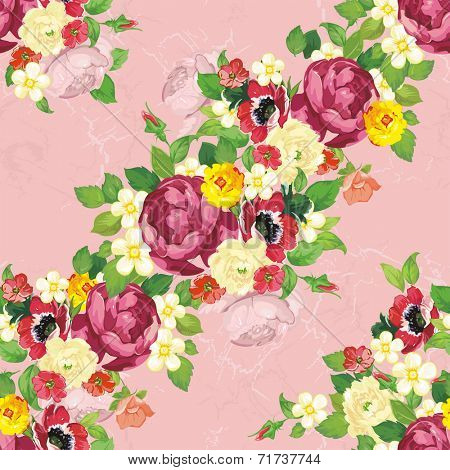 Seamless vintage peonies pattern. Beautiful flower vector illustration texture