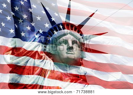 Statue of Liberty - - U.S. flag overlay