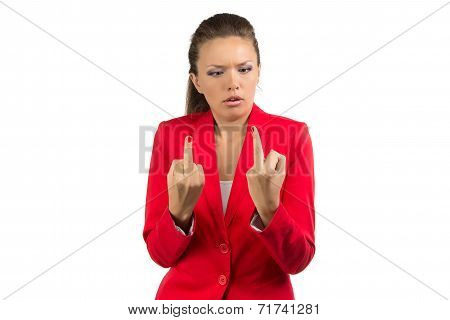Portrait of businesswoman with middle finger