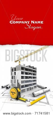 Architecture and construction theme in 3D ideal for customization