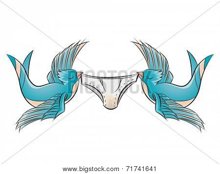 couple of swallows is lifting underpants