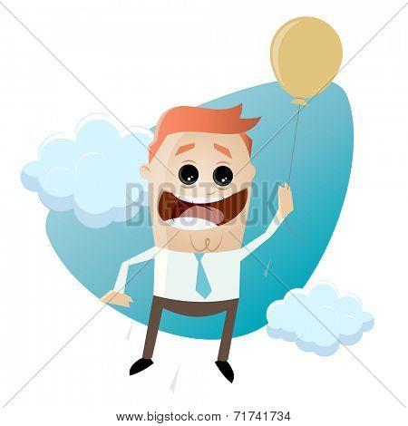 funny cartoon businessman with air balloon