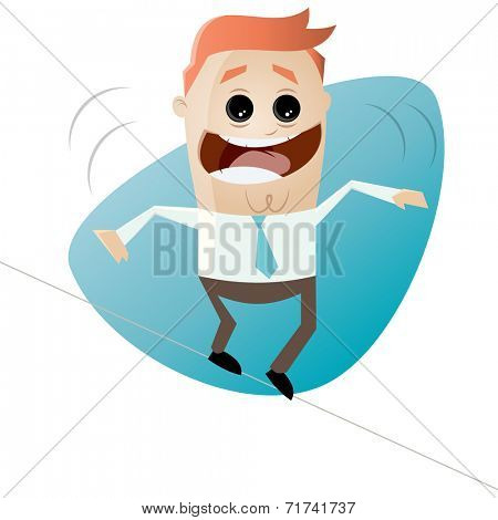 funny cartoon businessman on tightrope