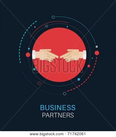 Business partners hand shake vector on navy background