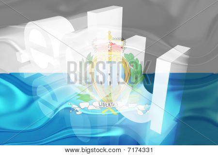 Bandeira de San Marino de educação ondulado