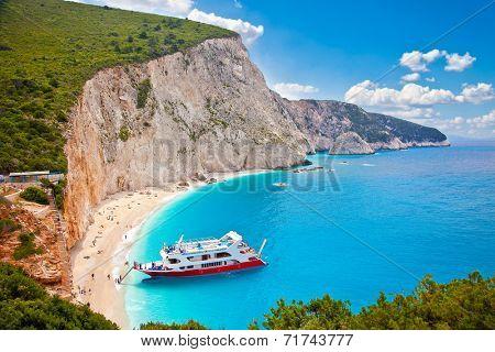 Beautiful panoramic view on  turquoise Katsiki beach, Lefkada, Greece.