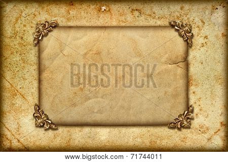 Grungy Card With Golden Frame Corner