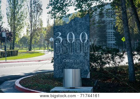 Redwood City, Ca, Usa - Sept 24, 2008: The Road Sign At Entrance To Oracle Campus In Redwood City, C