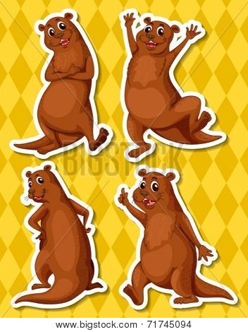 Illustration of four otters with yellow background