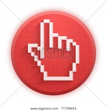 Pixel cursor round icon click mouse hand