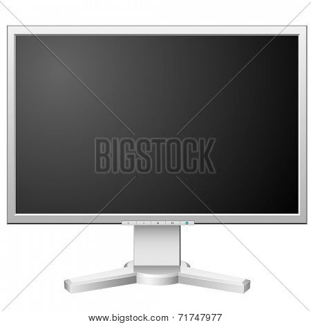 New modern white LCD monitor isolated on white background.