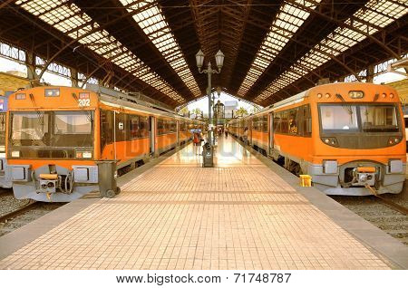 Electric trains stand.