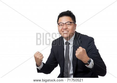 Asian Businessman Hold His Fists Happy With Success