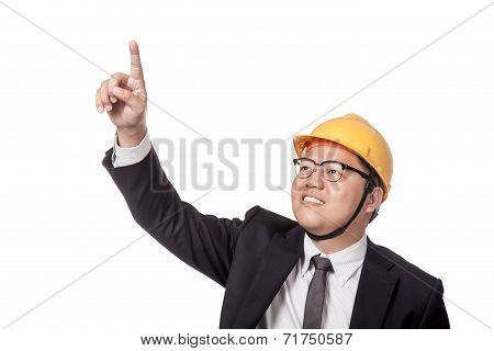 Asian Businessman With Yellow Hardhat Point Up And Smile