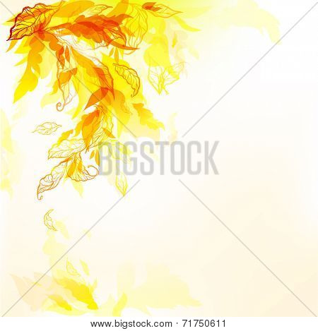 Autumn art background with painted leaves. Space for text