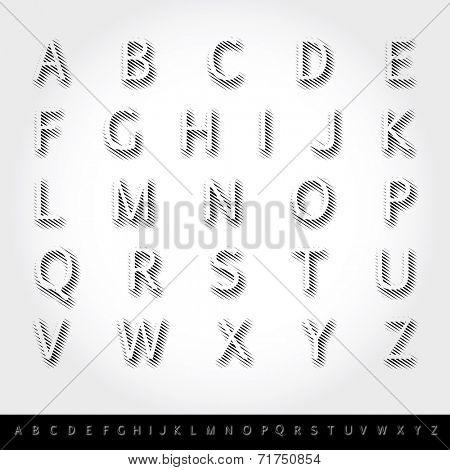 vector transparent alphabet with linear raster shadow