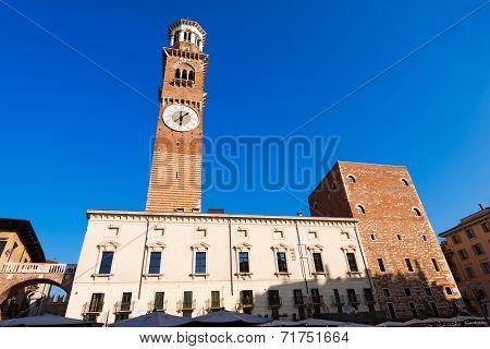 Piazza Erbe And Lamberti Tower In Verona