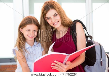 Schoolgirl and her mother
