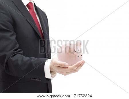 Man with piggy bank in hand isolated on white