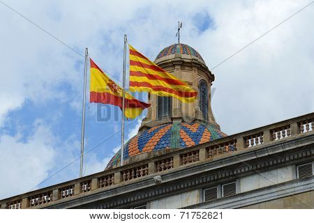 Flag of Spain and Catalonia, Barcelona, Spain