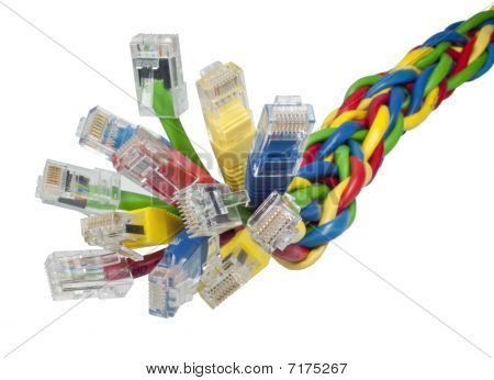 Closeup On Bunch Of Multi Coloured Ethernet Network Cables