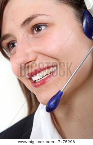 Young, Friendly Woman In The Call Center