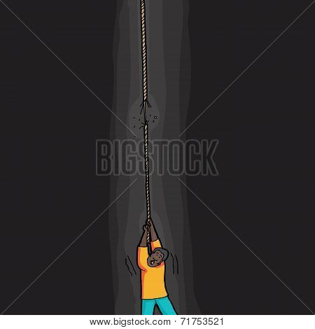 Person Holding Frayed Rope