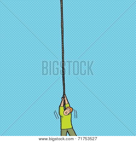 Scared Man Holding Rope