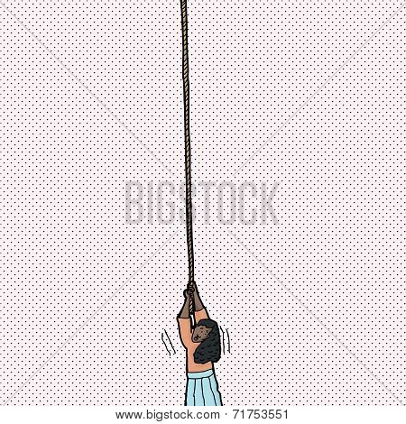 Helpless Woman Holding Rope