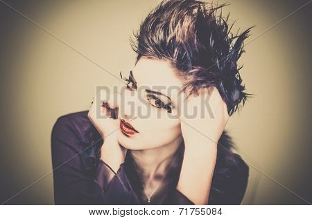 Fashion style grunge 80's punk portrait