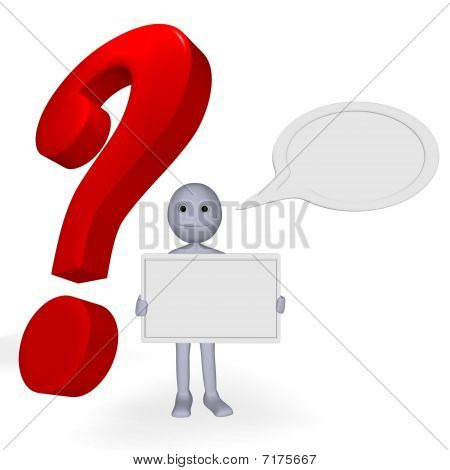 man with question paper for text and cartoon cloud