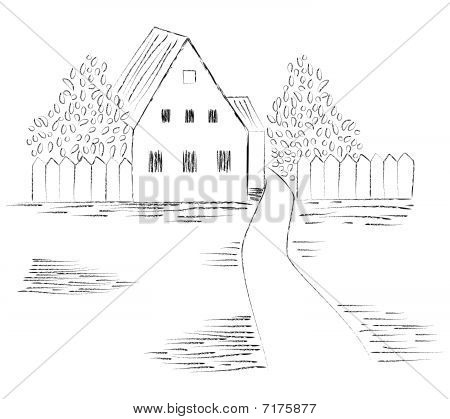 Sketch of the image of a country house