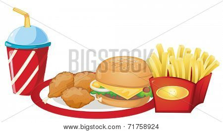 Illustration of the foods from the fastfood restaurant on a white background