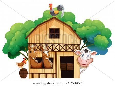 Illustration of a farmhouse with animals on a white background
