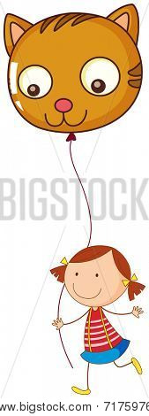 Illustration of a little girl holding a cat balloon on a white background